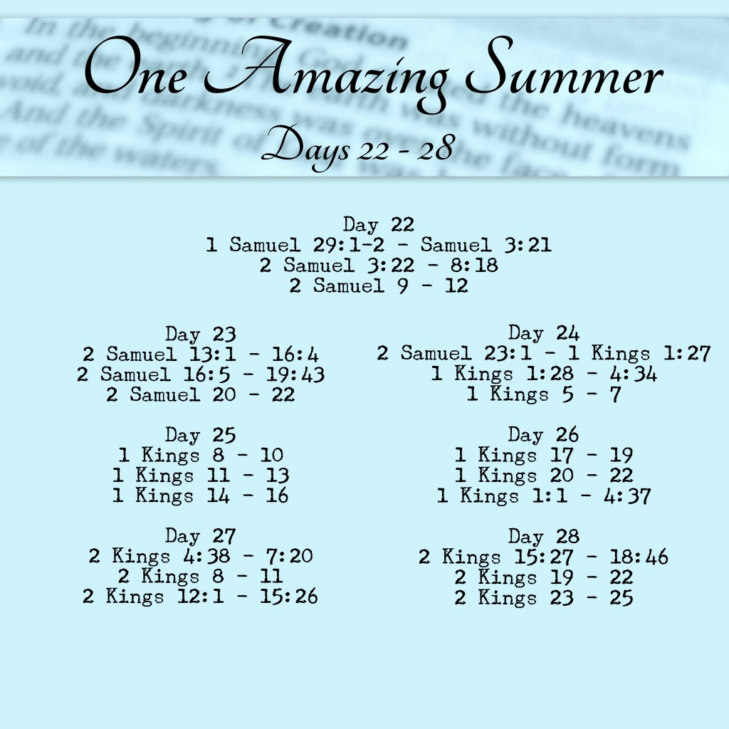 Bible in 90 Days Readings Days 22 - 28