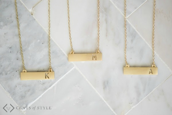 fashion frieday initial bar necklaces