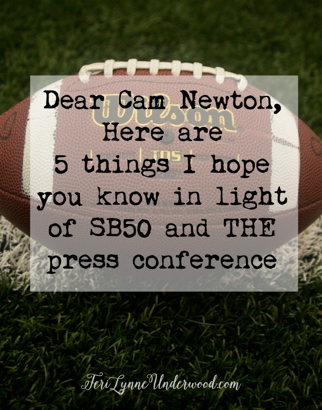 """5 things I really hope Cam Newton knows after SB50 and """"the"""" press conference ... and really, they are five things we all need to remember."""