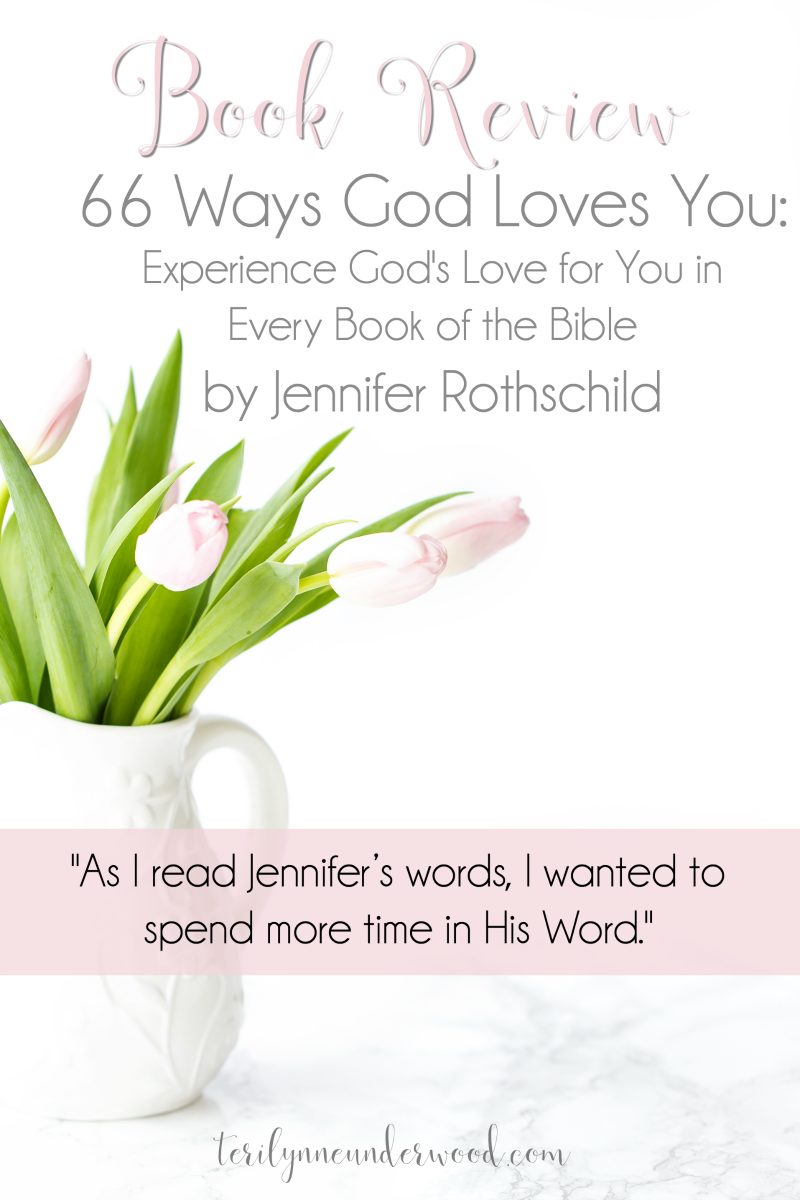 "In ""66 Ways God Loves You,"" Jennifer Rothschild carefully outlines the way we see God's love revealed in each book of the Bible. Her writing is beautiful and inspiring but also powerful and encouraging. But what I love the most about this little book is this: As I read Jennifer's words, I wanted to spend more time in His Word."
