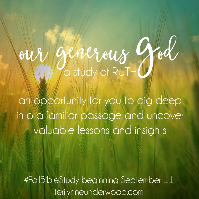 Our Generous God is an opportunity for you to dig deep into a familiar passage and uncover valuable lessons and insights. #FallBibleStudy || terilynneunderwood.com