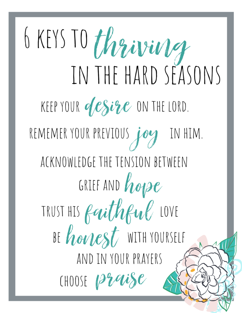 6 Keys to Thriving when the Hard Seasons Hit — based on Psalm 42.  Printable resource from Teri Lynne Underwood