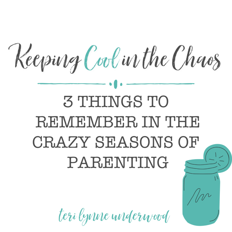 Parenting isn't always smooth sailing. There are days and seasons when keeping our cool in the midst of the chaos seems almost impossible. 3 things we need to remember in the crazy seasons of parenting.